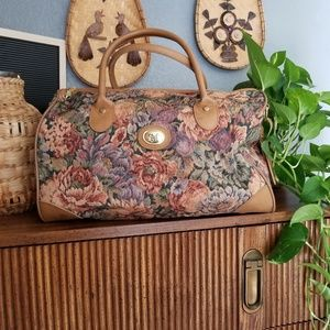 Vintage Floral Tapestry Bag Luggage Carry On
